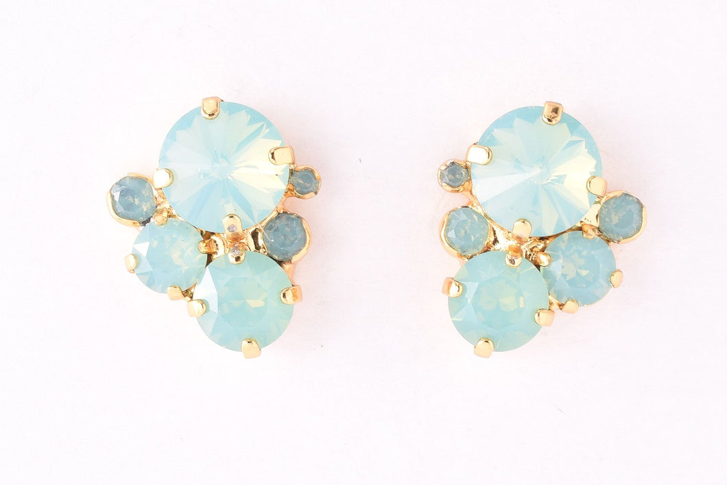 Crystal Assorted Rounds Post Earring - Pacific Opal