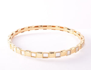 All Squared Away Bangle - Gold/White Crystal