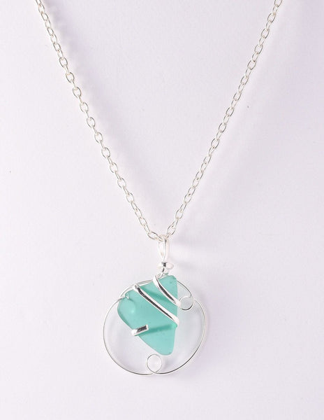 Alpaca Recycled Glass Pendant Necklace Circle Silver Plated - Mint