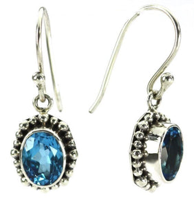 925 Sterling Silver Bali Oval Swiss Blue Topaz Beaded Drop Earrings