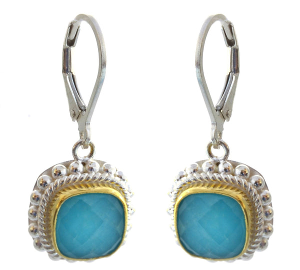 925 Sterling Silver Bali Faceted CRY Quartz over Turquoise Earrings