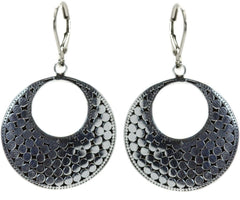 925 Sterling Silver Kala Round Disc Earrings