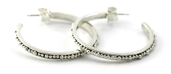 925 Sterling Silver Thin Bead Medium Hoop Earrings