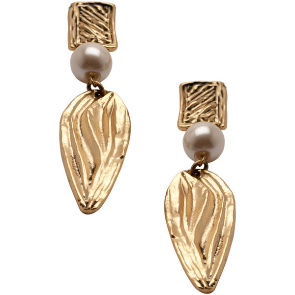 Gold Pendant Earrings with Floral Motif