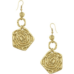 Gold Earrings with Rose Charm Drop