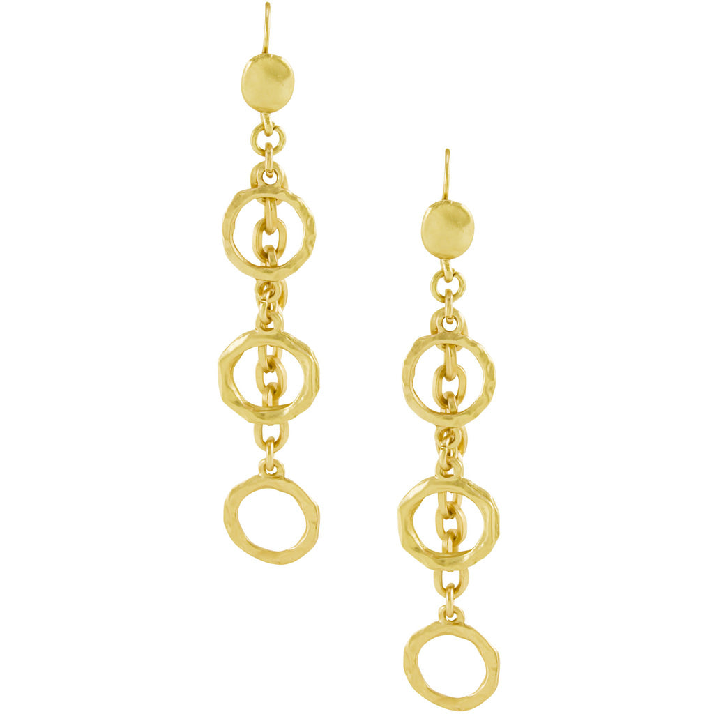 Gold Circle Dangle Earrings