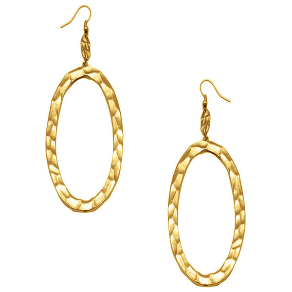 Hammered Oval Dangle Gold Earrings