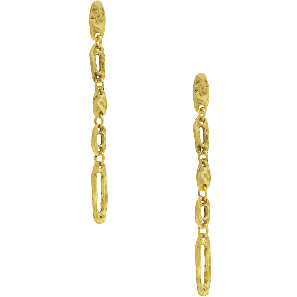 Chain Pendant Earrings in Gold