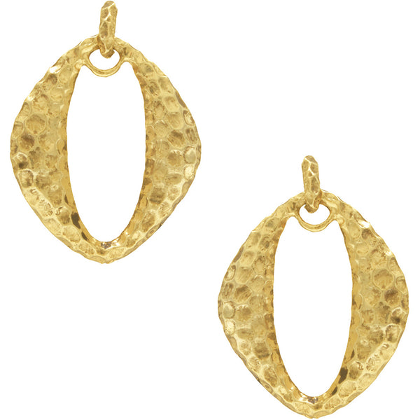 Oval Cut-Out Pendant Earrings in Gold