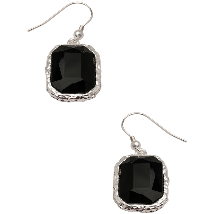 Black Faceted CRY Drop Earrings