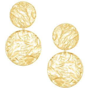 Textured Discs Statement Earring In Gold
