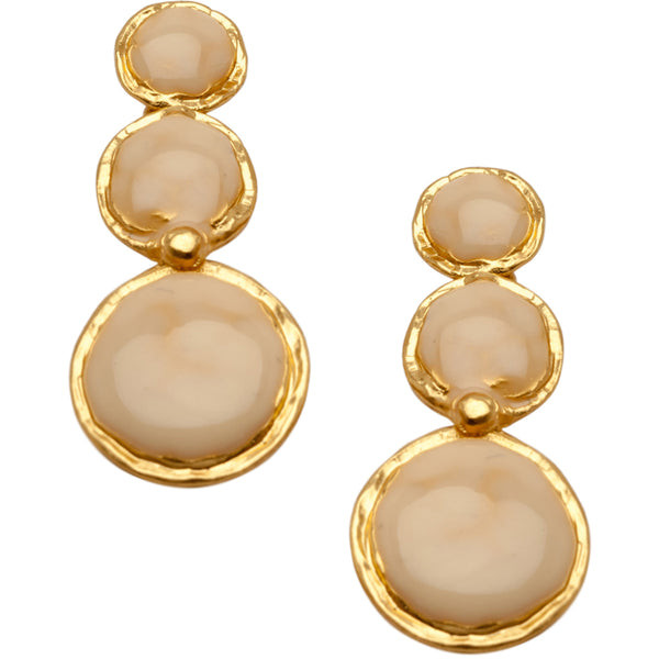 Gold Triple Beige Disc Pendant Earrings
