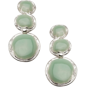 Green Enamel Disc Pendant Earrings