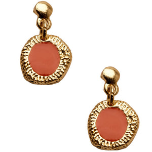 Gold brushed coral enamel bead drop earrings