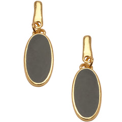 Chic Black Enamel Oval Earrings