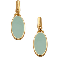 Chic Green Enamel Earrings in Gold