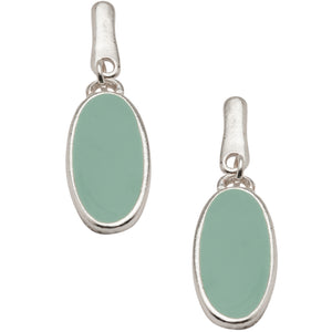 Chic Green Oval Earrings in Silver