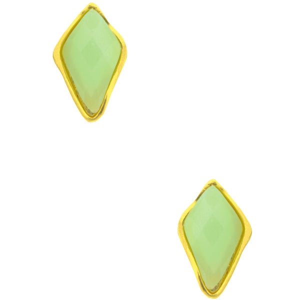 Green Resin Stud Earrings in Gold