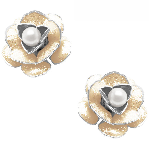 Flower Stud Earrings with Pearls