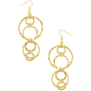 French Wires Hammered Textured Drop Earring In Gold