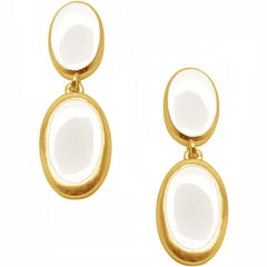 White Oval Earrings with Gold