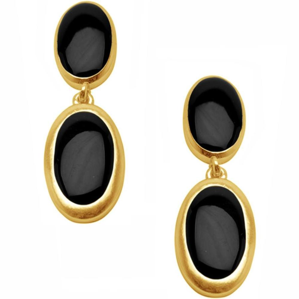 Black Oval Earrings with Gold