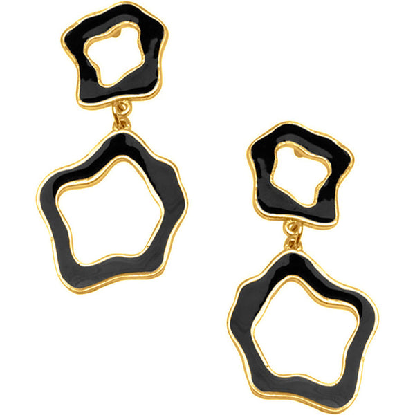 24KTGold Plated Black Cut-Out Earrings