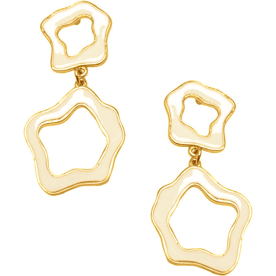 24KT Gold Plated Beige Cut-Out Earrings