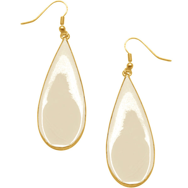 Beige Enamel 24KT Gold Plated Teardrop Earrings