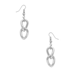 Silver curb link dangle earrings