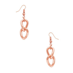 Rose Gold curb link dangle earrings