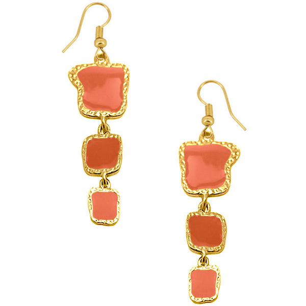 Coral Enamel Dangle Earrings in Gold