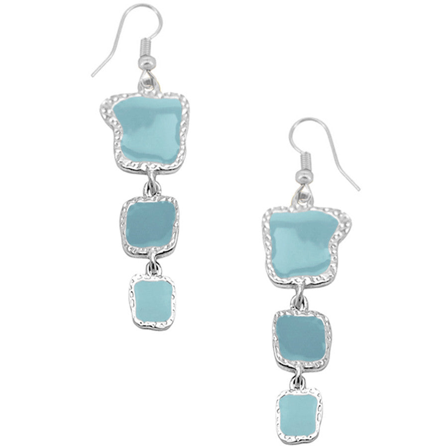 Blue Enamel Accents Dangle Earrings in Silver