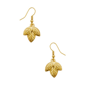 Gold Carved Leaf Drop Earrings