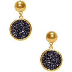 Charm Drop Earring In Gold/Black Crystal
