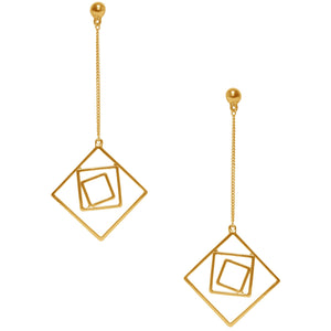Gold Lila Geo Dangling Earrings