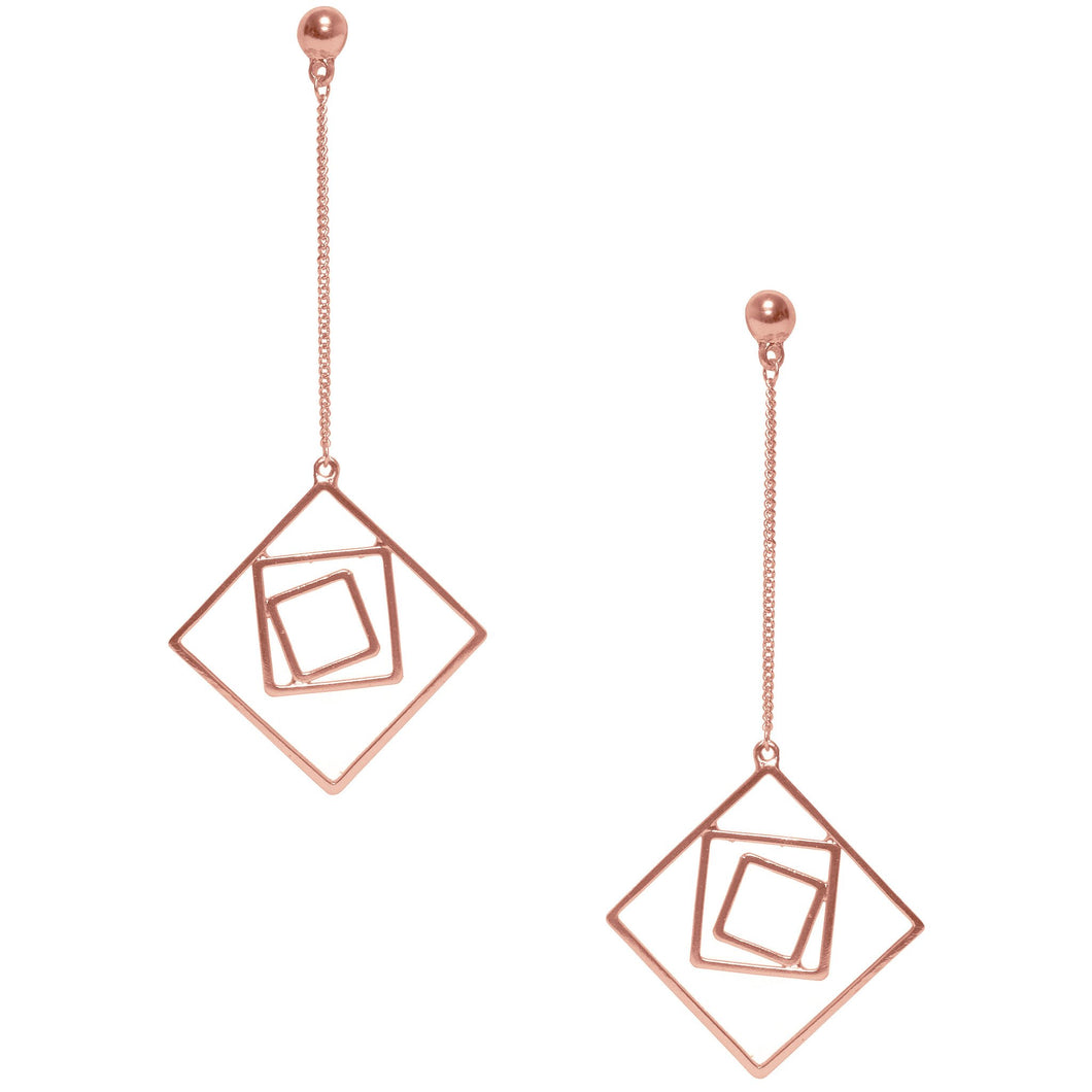 Rose Gold Lila Geo Dangling Earrings