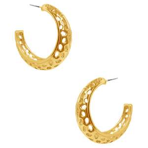 Perforated Honeycomb Thick Hoop Earring in Gold