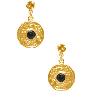 Gold Monika Pendant Black Pearl Earrings