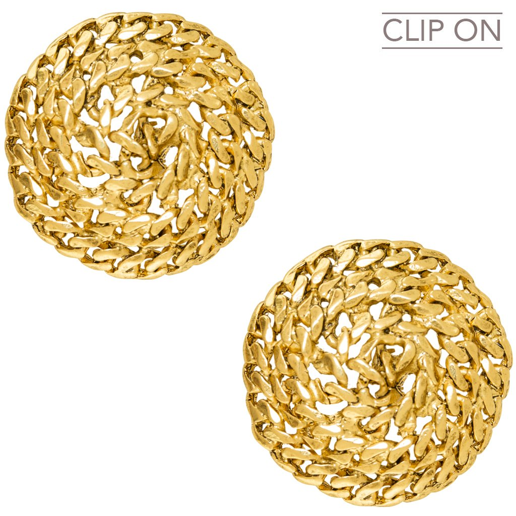 Gold Swirling Rope Clip on Earrings
