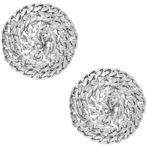 Silver Swirling Rope Design Earrings