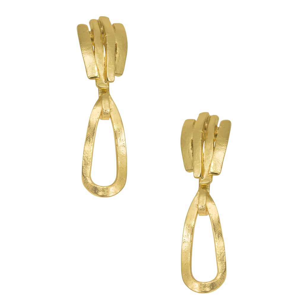 Embellished Stud Open Link Dangle Earrings Gold