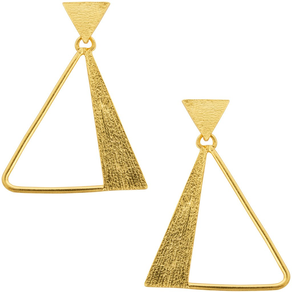Gold Triangular Statement Earrings