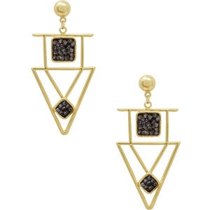 Modern Geometric Pendant Earring Gold/Black