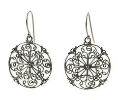 925 Sterling Silver Bali Round Filigree Earrings