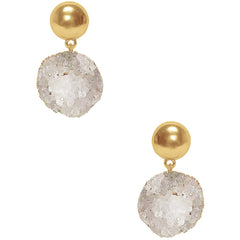 White Druzy Stone Earrings with Gold bead studs