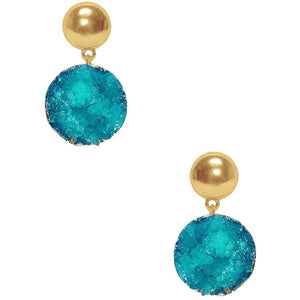 natural turquoise druzy stones earrings