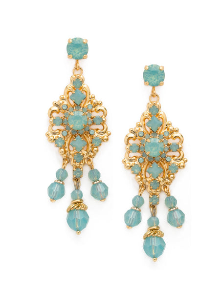 Double Loop Filigree Chandelier Earring- Pacific Opal