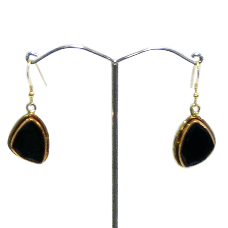 Copper Gold White Metal Black Onyx Earrings