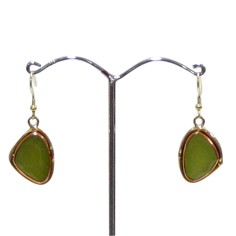 Gold White Metal Lime Onyx Earrings